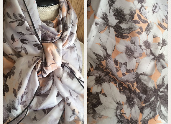 WHITE WITH GREY AND PEACH FLORAL
