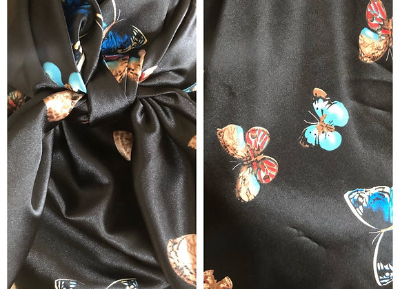 BLACK WITH MULTICOLOR BUTTERFLIES PRINT