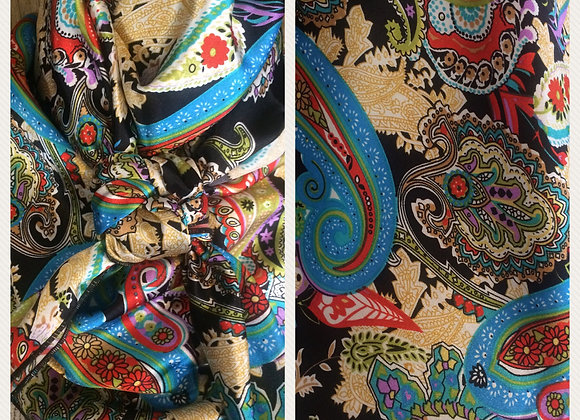 BLACK WITH GOLD, BLUE AND RED PAISLEY