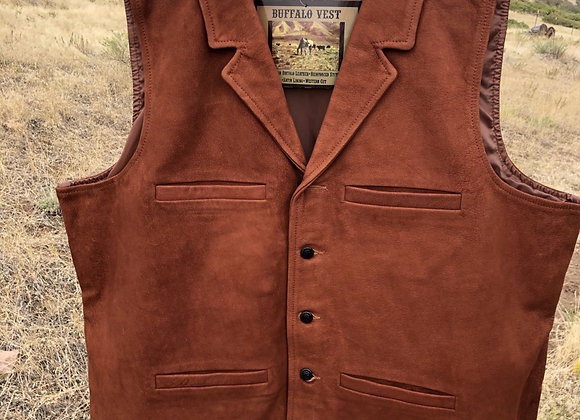 "3XL MEN""S BUFFALO LEATHER VEST IN CEDAR COLOR"
