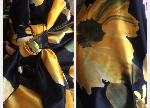 HUGE YELLOW SUNFLOWER ON BLACK FLORAL