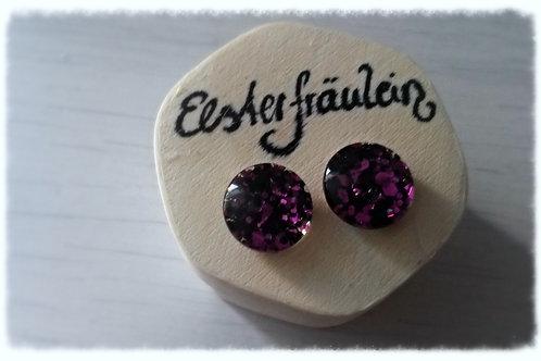 """Ohrstecker """"Farbenreich"""" - pink-schwarz"""