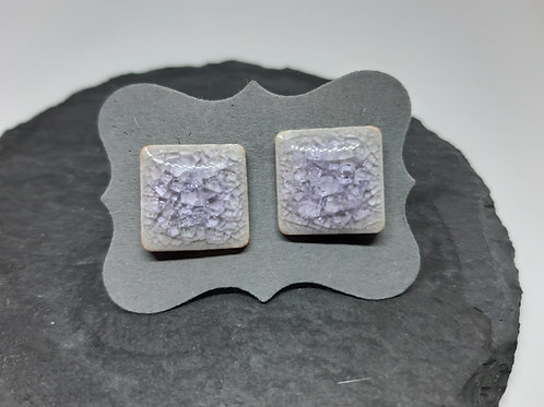 "Ohrstecker ""Crackle-Keramik"" Edelstahl 14x14 mm"