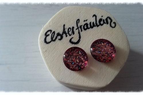 "Ohrstecker ""Farbenreich"" - Altrosa-Glitter"