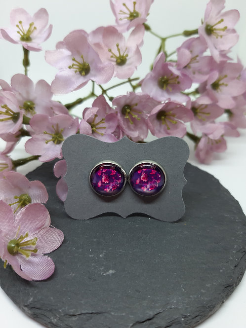 "Ohrstecker ""Purple Flowers"" Edelstahl"