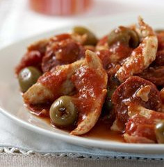 Poulet au chorizo, olives et tomates