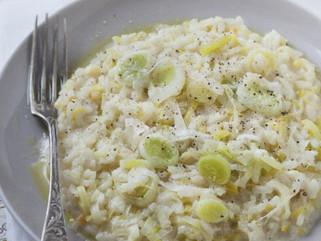 Risotto au poireau et à la fève tonka