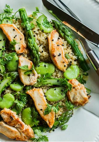 asperges, poulet, quinoa