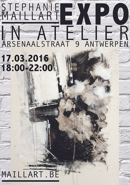 Black and white painting, poster for an exhibition in Antwerp