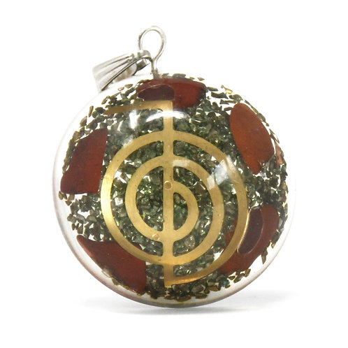 Orgonite Power Pendant - Symbolic Power Dome w/faux leather/925 silver chain