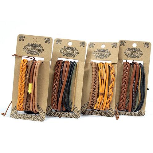 Mens Bracelet Sets - Tanned & Interesting (4 x Pack)