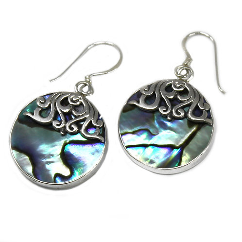 Shell & Silver Earrings - Classic Disc - Abalone