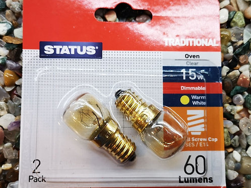 2 Himalayan Salt/Selenite Lamp bulbs 15w Oven Bulb