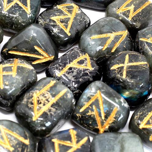 Runes Stone Set in Pouch - Labradorite