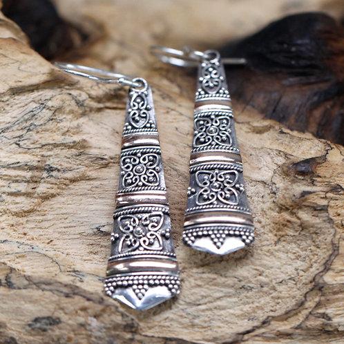 Silver & Gold Earring - Tribal Drops
