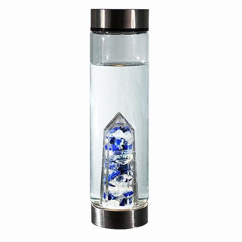 bewater COMPASSION Lapis Lazu, Aura Quartz crystal insert glass water bottle