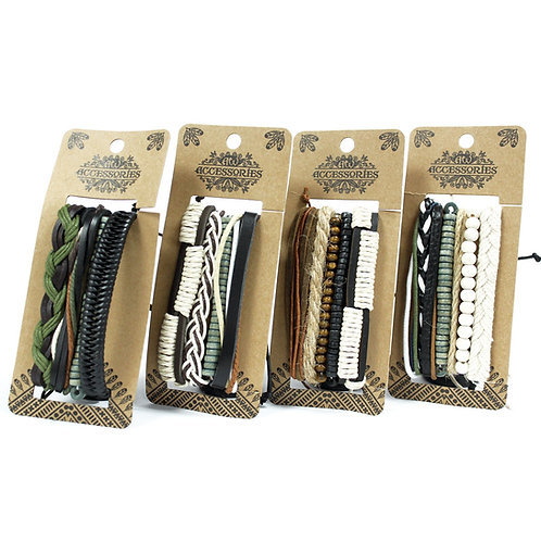 Mens Bracelet Sets - Green & Natural (asst)