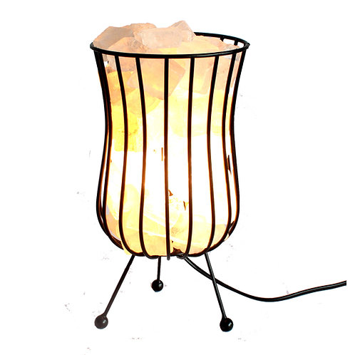 Tall Salt Rock Brazier, WHITE Salt Chunks, Cable & Bulb