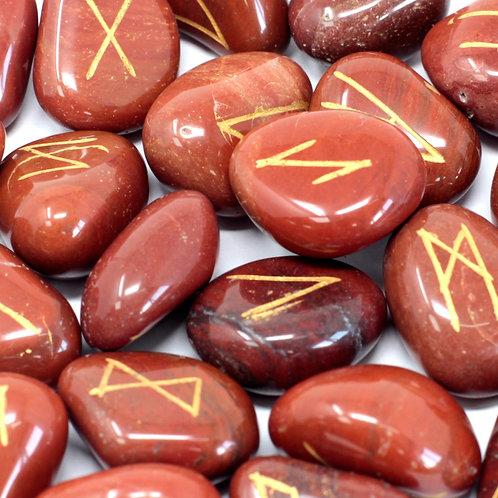 Runes Stone Set in Pouch - Red Jasper