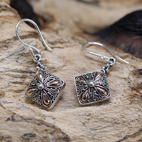 Silver & Gold Earring - Square Drop