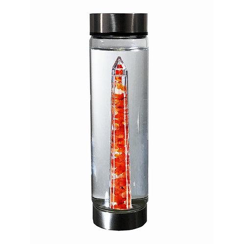 bewater COURAGE Carnelian crystal insert glass water bottle