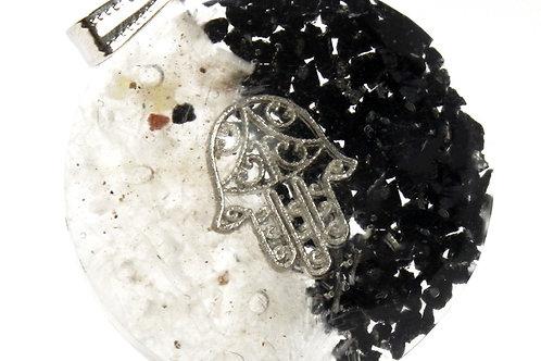 Orgonite Power Pendant - Good & Evil - Hamsa w/faux leather/925 silver chain