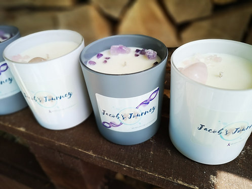 Jacob's Journey Fragranced candle with Rose Quartz or Amethyst