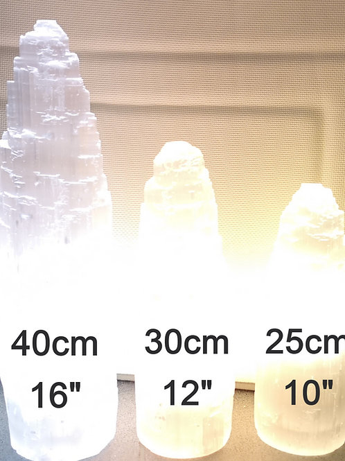 "40cm Selenite White Tower Lamp  (apx 16"") 'Grade A' Satin Spar"