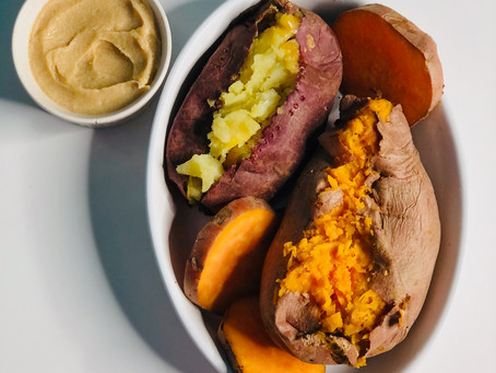 Purple and Orange Sweet Potatoes with Brown Sugar Butter