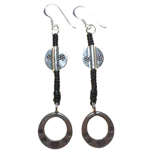 Black Waxed & Silver Ring Earring