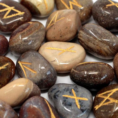 Runes Stone Set in Pouch - Fancy Jasper