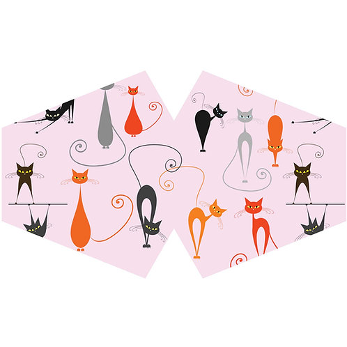Reusable Fashion Face Covering - Pink Cats  (Adult)