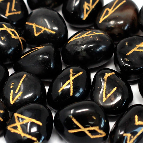 Runes Stone Set in Pouch - Black Onyx