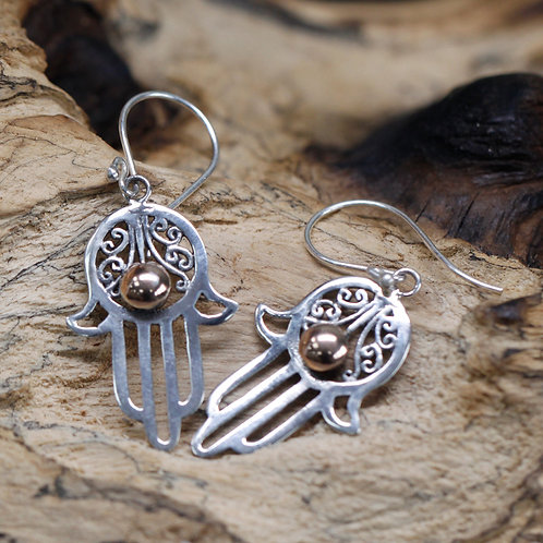 Silver & Gold Earring - Hamsa