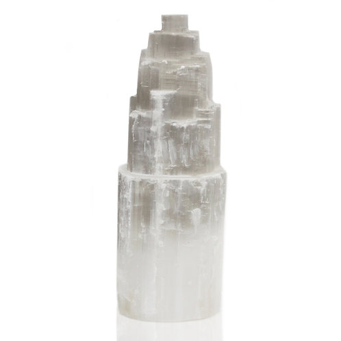 "25cm Selenite White Tower Lamp  (apx 10"")"