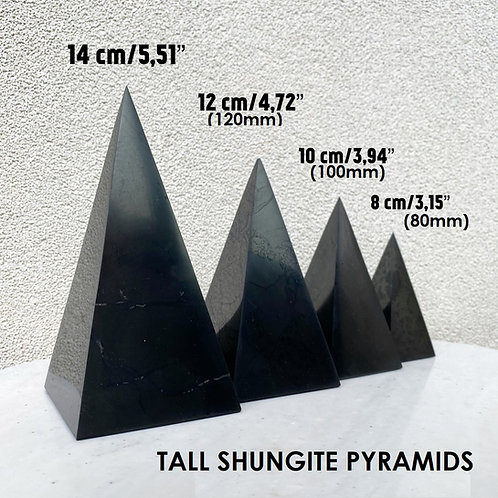 Tall Pointed Elite Noble Silver Shungite Pyramid 80, 100, 120mm