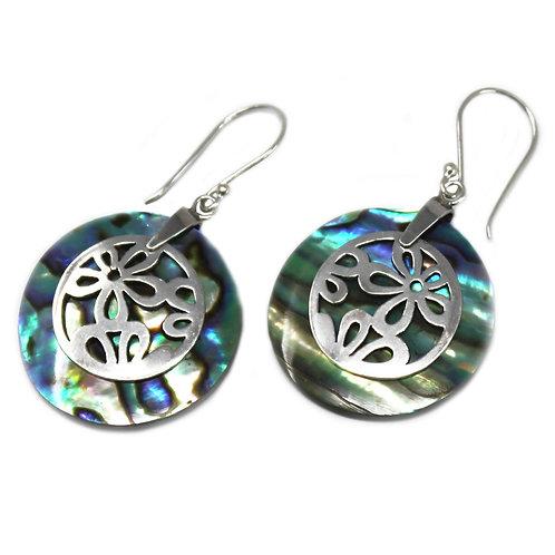 Shell & Silver Earrings - Flowers - Abalone