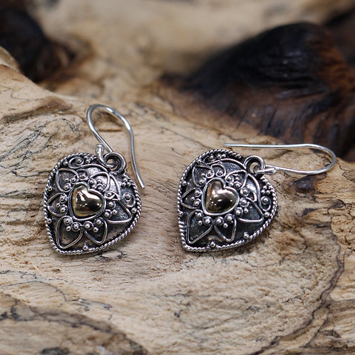 Silver & Gold Earring - Mandala Hearts