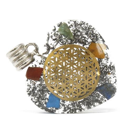 Orgonite Power Pendant - 7 Stone Chakra Heart - w/faux leather/925 silver chain
