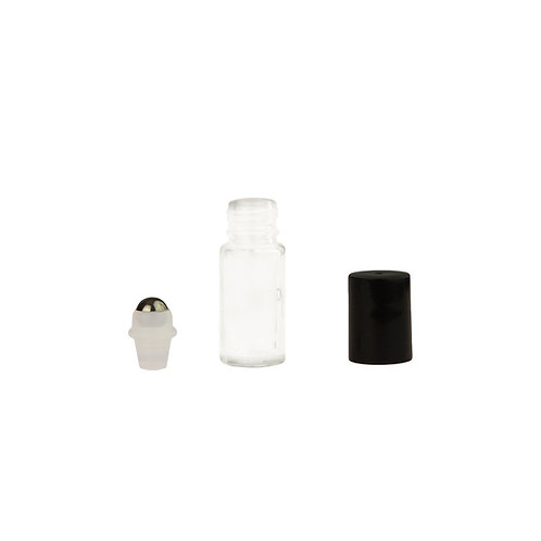 5ml Clear Glass Roll-On Vials with (glass) Rollers and Black Caps (pack of 6)