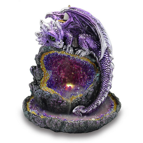 Crystal Cave Purple Dragon LED Backflow Incense Burner