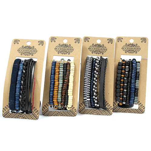 Mens Bracelet Sets - Moody & Blue (4 x Pack) 4 styles to choose from