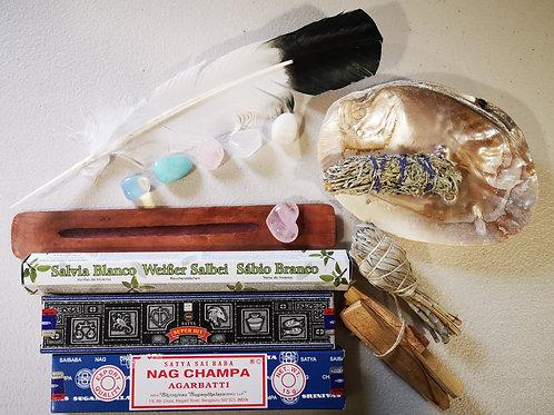 LARGE Smudging Kit: Sage, Shell, incense, Palo Santo, Feather+Rose Quartz +