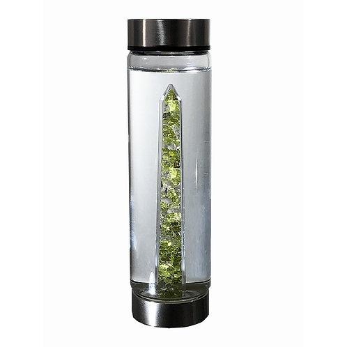 bewater FRESH Peridot crystal insert glass water bottles