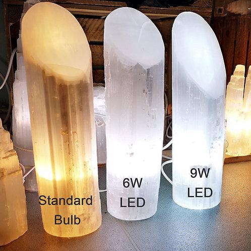 "40cm Selenite White LIPSTICK SHAPE Lamp  (apx 16"")"