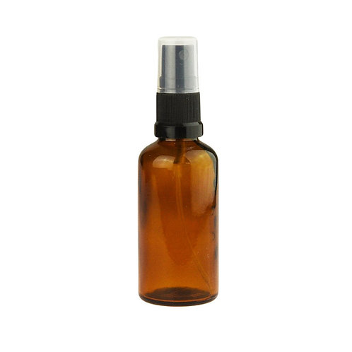 50 ml Amber Glass Bottle with Black Spray Top (Single Item)