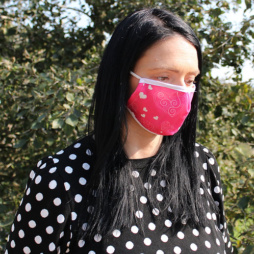 Reusable Fashion Face Covering - Pink Hearts (Adult)