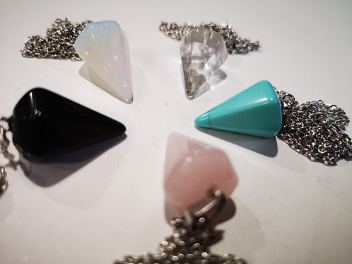 2 Crystal Pendulums+ 2 Crystal Necklaces (rose quartz,amethyst,opalite + more