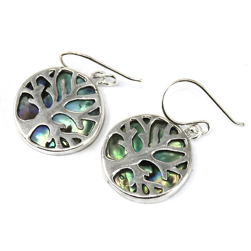 Tree of Life Silver Earrings 15mm - Abalone