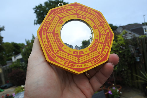 BAGUA MIRROR CONVEX good luck, good fortune, ancient chinese protect, 11 x 11cm